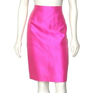 FIRM - Escada Bright Pink Silk Pencil Skirt